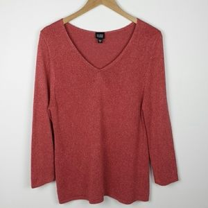 Eileen Fisher Silk Rose V Neck Sweater, Size XL